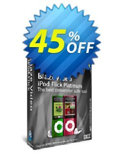 BlazeVideo iPod Flick Platinum Coupon, discount Save 45% Off. Promotion: stunning discount code of BlazeVideo iPod Flick Platinum 2020