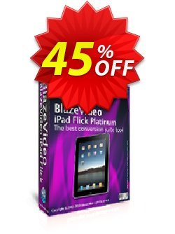 BlazeVideo iPad Flick Platinum Coupon, discount Save 45% Off. Promotion: impressive sales code of BlazeVideo iPad Flick Platinum 2020