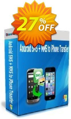Backuptrans Android SMS + MMS to iPhone Transfer Coupon, discount Holiday Deals. Promotion: best offer code of Backuptrans Android SMS + MMS to iPhone Transfer (Personal Edition) 2021