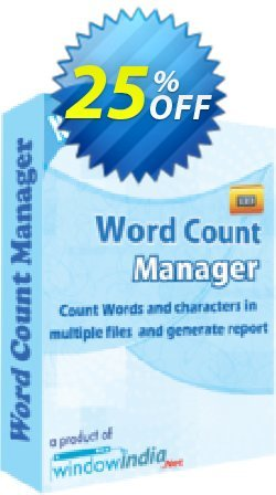 WindowIndia Word Count Manager Coupon, discount Christmas OFF. Promotion: awful discounts code of Word Count Manager 2020
