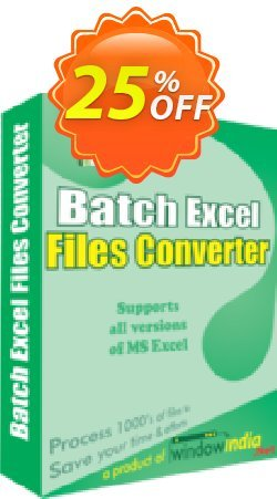 WindowIndia Batch Excel Files Converter Coupon, discount Christmas OFF. Promotion: amazing deals code of Batch Excel Files Converter 2020