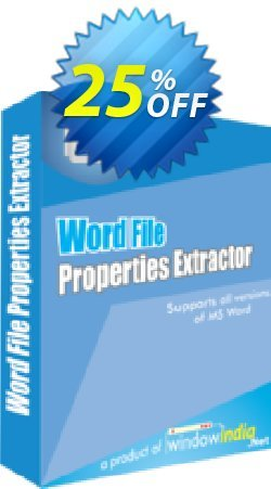 WindowIndia Word File Properties Extractor Coupon, discount Christmas OFF. Promotion: imposing promo code of Word File Properties Extractor 2020