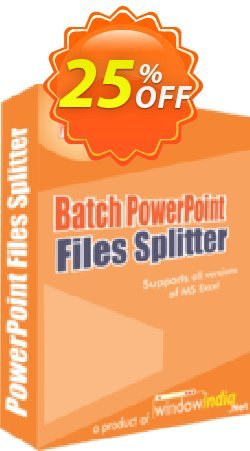 WindowIndia Batch PowerPoint Files Splitter Coupon, discount Christmas OFF. Promotion: marvelous discount code of Batch PowerPoint Files Splitter 2020
