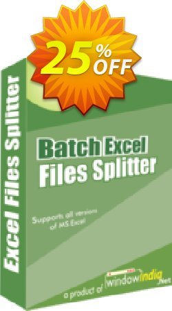 WindowIndia Batch Excel Files Splitter Coupon, discount Christmas OFF. Promotion: best offer code of Batch Excel Files Splitter 2020