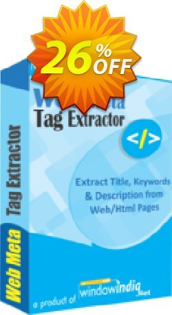 WindowIndia Web Meta Tag Extractor Coupon, discount Christmas OFF. Promotion: wondrous deals code of Web Meta Tag Extractor 2020
