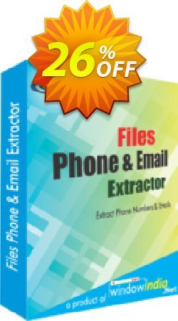 WindowIndia Files Phone and Email Extractor Coupon, discount Christmas OFF. Promotion: excellent deals code of Files Phone and Email Extractor 2020