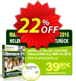 MAXTAX Steuersparen 2016 DELUXE Coupon, discount MAXTAX-Spar-ABO. Promotion: best sales code of MAXTAX Steuersparen 2016 DELUXE 2020