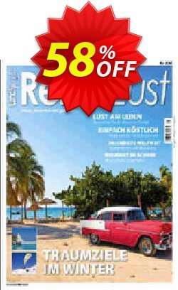 ReiseLust Magazin Coupon, discount MAXTAX-Starter Spar-ABO. Promotion: marvelous sales code of ReiseLust Magazin 2020