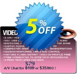 Video Flash Chat - Full Source Code Unlimited License Coupon, discount Give Me Five 5% Discount. Promotion: impressive offer code of Video Flash Chat - Full Source Code Unlimited License 2020