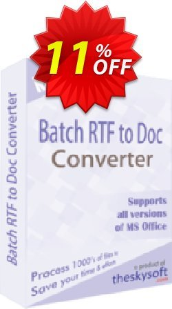TheSkySoft Batch RTF to Doc Converter Coupon discount 10%Discount. Promotion: marvelous discounts code of Batch RTF to Doc Converter 2021