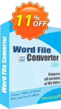 Word File Converter Batch Coupon, discount 10%Discount. Promotion: amazing promotions code of Word File Converter Batch 2019