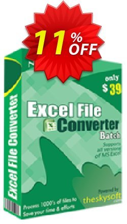 TheSkySoft Excel File Converter Batch Coupon discount 10%Discount. Promotion: stirring deals code of Excel File Converter Batch 2021