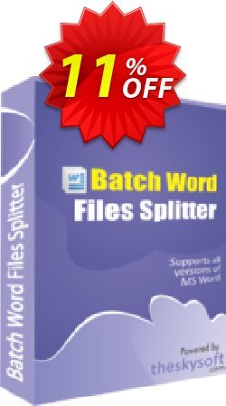 Batch Word Files Splitter Coupon, discount 10%Discount. Promotion: impressive offer code of Batch Word Files Splitter 2019
