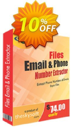 Files Email and Phone Number Extractor Coupon, discount 10%Discount. Promotion: amazing promotions code of Files Email and Phone Number Extractor 2019