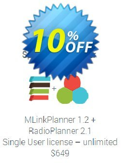 MLinkPlanner 1.2 Single User license unlimited + RadioPlanner 2.1 Single User license unlimited Coupon, discount MLinkPlanner 1.2 Single User license unlimited + RadioPlanner 2.1 Single User license unlimited awful deals code 2019. Promotion: awful deals code of MLinkPlanner 1.2 Single User license unlimited + RadioPlanner 2.1 Single User license unlimited 2019