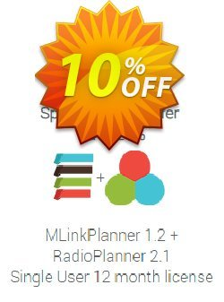 Special offer: MLinkPlanner + RadioPlanner - 12 month license  Coupon discount MLinkPlanner 1.2 Single User 12 month license + RadioPlanner 2.1 Single User 12 month license exclusive promo code 2021 - exclusive promo code of MLinkPlanner 1.2 Single User 12 month license + RadioPlanner 2.1 Single User 12 month license 2021