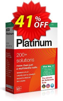 Nero Platinum Suite - 1-year License  Coupon, discount 30% OFF Nero Platinum Suite (1-year License) Oct 2020. Promotion: Staggering deals code of Nero Platinum Suite (1-year License), tested in October 2020