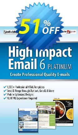 High Impact Email 6 Platinum Coupon, discount 40% OFF High Impact Email 6 Platinum, verified. Promotion: Amazing promo code of High Impact Email 6 Platinum, tested & approved