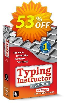 Typing Instructor Platinum - International Version UK Keyboard Coupon, discount 30% OFF Typing Instructor Platinum - International Version UK Keyboard, verified. Promotion: Amazing promo code of Typing Instructor Platinum - International Version UK Keyboard, tested & approved