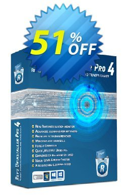 Revo Uninstaller PRO PORTABLE - 2 years Coupon, discount 51 % off ALL edition Revo Uninstaller. Promotion: