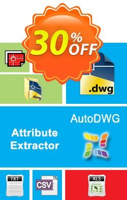 AutoDWG Attribute Extractor 2013 Site License Coupon, discount 25% AutoDWG (12005). Promotion: 10% Discount from AutoDWG (12005)