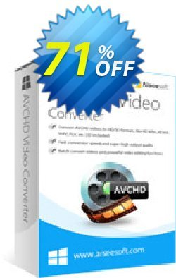 Aiseesoft AVCHD Video Converter Coupon discount 50% Aiseesoft. Promotion: 50% Off for All Products of Aiseesoft