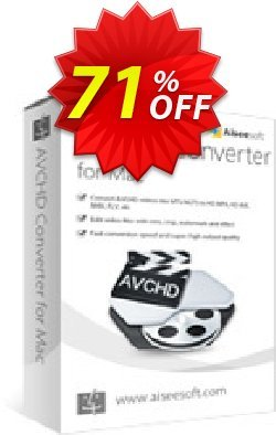 Aiseesoft AVCHD Converter for Mac Coupon, discount 40% Aiseesoft. Promotion: 40% Off for All Products of Aiseesoft