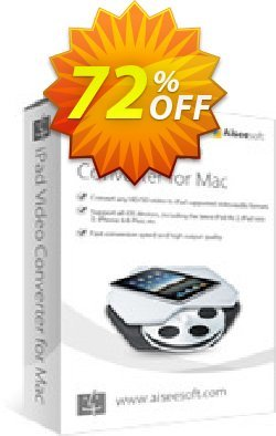 Aiseesoft iPad Video Converter for Mac Coupon, discount 40% Aiseesoft. Promotion: 40% Off for All Products of Aiseesoft