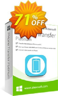 Aiseesoft iPhone Transfer Platinum Coupon, discount 40% Aiseesoft. Promotion: