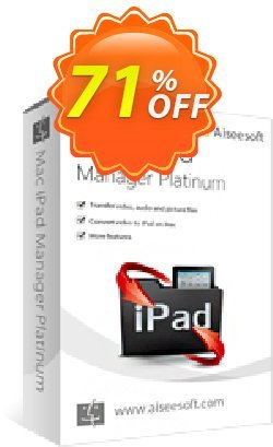 Aiseesoft Mac iPad Manager Platinum Coupon, discount 40% Aiseesoft. Promotion:
