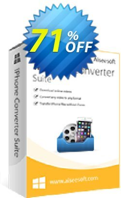 Aiseesoft iPhone Converter Suite Coupon, discount 40% Aiseesoft. Promotion: