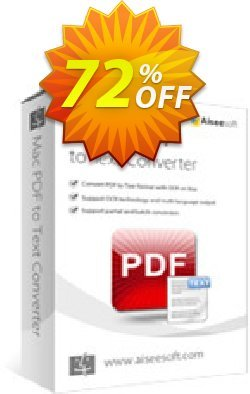 Aiseesoft Mac PDF to Text Converter Coupon discount 40% Aiseesoft - 40% Off for All Products of Aiseesoft
