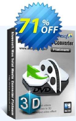 Aiseesoft Mac Total Media Converter Platinum Coupon discount Aiseesoft Mac Total Media Converter Platinum formidable discounts code 2021. Promotion: formidable discounts code of Aiseesoft Mac Total Media Converter Platinum 2021