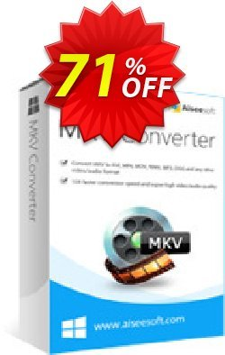 Aiseesoft MKV Converter Coupon, discount 40% Aiseesoft. Promotion: 40% Off for All Products of Aiseesoft