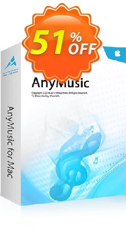 AnyMusic for Mac Coupon, discount Coupon code AnyMusic Mac Annually. Promotion: AnyMusic Mac Annually offer from Amoyshare