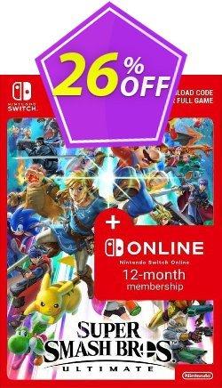 Super Smash Bros. Ultimate + 12 Month Membership Switch Coupon discount Super Smash Bros. Ultimate + 12 Month Membership Switch Deal - Super Smash Bros. Ultimate + 12 Month Membership Switch Exclusive offer for iVoicesoft