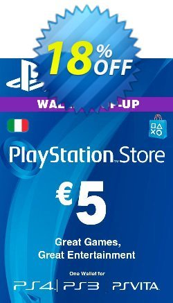 Playstation Network - PSN Card - 5 EUR - Italy  Coupon discount Playstation Network (PSN) Card - 5 EUR (Italy) Deal. Promotion: Playstation Network (PSN) Card - 5 EUR (Italy) Exclusive offer for iVoicesoft