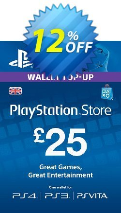 Playstation Network Card - £25 - PS Vita/PS3/PS4  Coupon discount Playstation Network Card - £25 (PS Vita/PS3/PS4) Deal. Promotion: Playstation Network Card - £25 (PS Vita/PS3/PS4) Exclusive offer for iVoicesoft