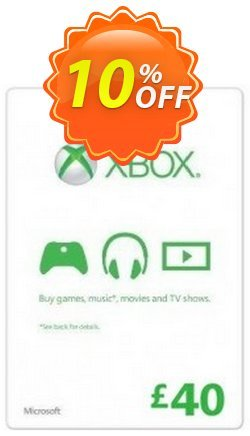 Microsoft Gift Card - £40 - Xbox One/360  Coupon discount Microsoft Gift Card - £40 (Xbox One/360) Deal - Microsoft Gift Card - £40 (Xbox One/360) Exclusive offer for iVoicesoft