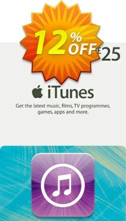 iTunes Gift Card - £25 Coupon, discount iTunes Gift Card - £25 Deal. Promotion: iTunes Gift Card - £25 Exclusive offer for iVoicesoft