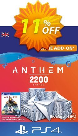 Anthem 2200 Shards PS4 - UK  Coupon discount Anthem 2200 Shards PS4 (UK) Deal. Promotion: Anthem 2200 Shards PS4 (UK) Exclusive offer for iVoicesoft