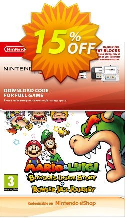 Mario and Luigi Bowsers Inside Story and Bowser Jrs Journey 3DS Coupon discount Mario and Luigi Bowsers Inside Story and Bowser Jrs Journey 3DS Deal - Mario and Luigi Bowsers Inside Story and Bowser Jrs Journey 3DS Exclusive Easter Sale offer for iVoicesoft