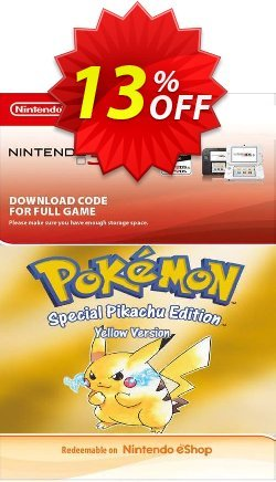 Pokemon Yellow Edition - Spain 3DS Coupon discount Pokemon Yellow Edition (Spain) 3DS Deal. Promotion: Pokemon Yellow Edition (Spain) 3DS Exclusive Easter Sale offer for iVoicesoft