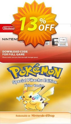 Pokemon Yellow Edition - UK 3DS Coupon discount Pokemon Yellow Edition (UK) 3DS Deal. Promotion: Pokemon Yellow Edition (UK) 3DS Exclusive Easter Sale offer for iVoicesoft