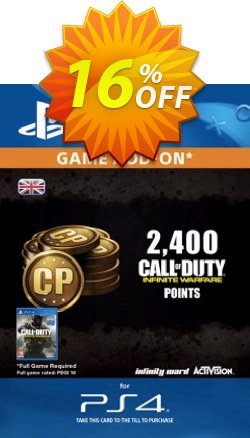 Call of Duty - COD Infinite Warfare - 2400 Points PS4 Coupon discount Call of Duty (COD) Infinite Warfare - 2400 Points PS4 Deal - Call of Duty (COD) Infinite Warfare - 2400 Points PS4 Exclusive Easter Sale offer for iVoicesoft