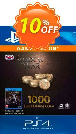 Middle-Earth: Shadow of War - 1050 Gold PS4 Coupon discount Middle-Earth: Shadow of War - 1050 Gold PS4 Deal - Middle-Earth: Shadow of War - 1050 Gold PS4 Exclusive Easter Sale offer for iVoicesoft