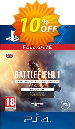Battlefield 1 Early Enlister Deluxe Edition PS4 Coupon discount Battlefield 1 Early Enlister Deluxe Edition PS4 Deal - Battlefield 1 Early Enlister Deluxe Edition PS4 Exclusive Easter Sale offer for iVoicesoft