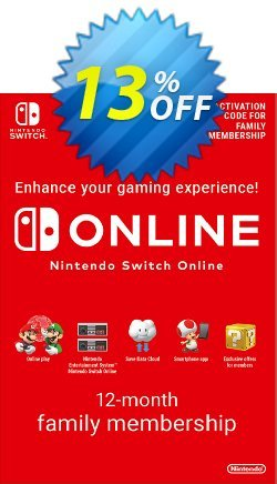 Nintendo Switch Online 12 Month - 365 Day Family Membership Switch - US  Coupon discount Nintendo Switch Online 12 Month (365 Day) Family Membership Switch (US) Deal 2021 CDkeys - Nintendo Switch Online 12 Month (365 Day) Family Membership Switch (US) Exclusive Sale offer for iVoicesoft