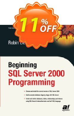 Beginning SQL Server 2000 Programming - Dewson  Coupon, discount Beginning SQL Server 2000 Programming (Dewson) Deal. Promotion: Beginning SQL Server 2000 Programming (Dewson) Exclusive Easter Sale offer for iVoicesoft