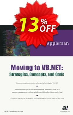 Moving to VB.NET: Strategies, Concepts, and Code - Appleman  Coupon, discount Moving to VB.NET: Strategies, Concepts, and Code (Appleman) Deal. Promotion: Moving to VB.NET: Strategies, Concepts, and Code (Appleman) Exclusive Easter Sale offer for iVoicesoft